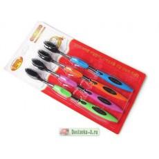 Бамбуковые зубные щетки с турмалином 4 шт.    Био Маркет